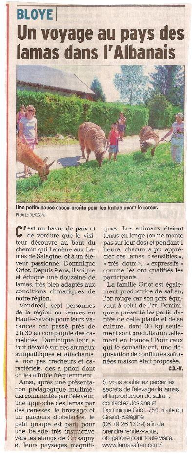 Article Dauphiné libéré 09 08 15